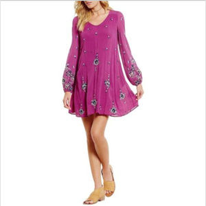 FREE PEOPLE LILAC OXFORD EMBROIDERED SWING DRESS